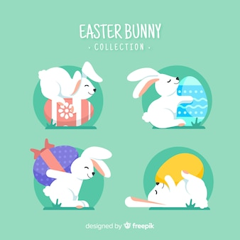 Cute easter bunnies with eggs collection