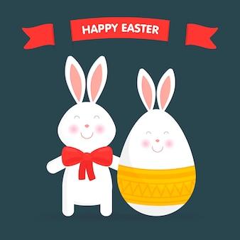 かわいいイースターのウサギと卵の分離ベクトルイラスト。イースターカード、バナー、おめでとうございます。