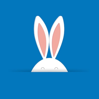 Cute easter bunny in blue background vector illustration. for easter cards, banners, congratulations and web sites.