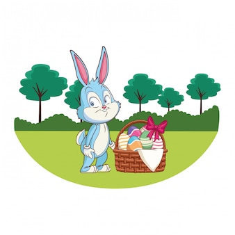 Cute easter bunny celebration nature trees background round frame