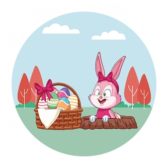 Cute easter bunny celebration rabbit hole spring nature background trees