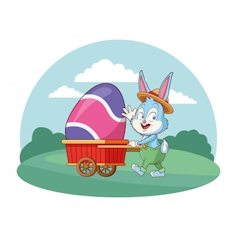 Cute easter bunny celebration with egg cart nature background round frame