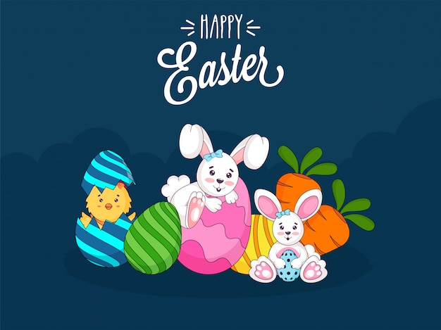 Cute easter bunny, chick, colorful eggs, and carrots on teal blue background. happy easter.