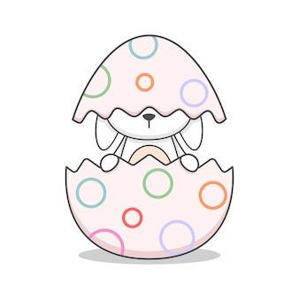 Cute easter bunny in an egg