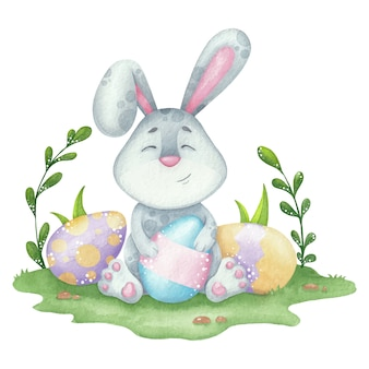 Cute easter bunny and eggs watercolor illustration for card