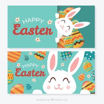 Симпатичные пасхальный кролик счастливые баннеры