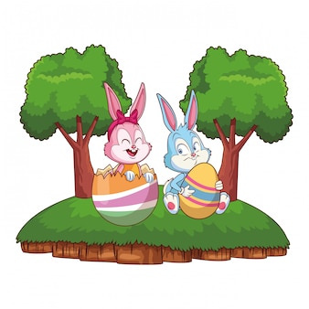 Cute easter bunny happy friends cracked egg nature background frame trees