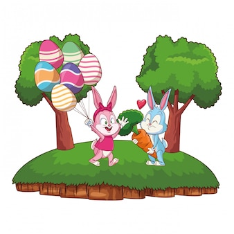 Cute easter bunny happy friends egg ballons nature background frame trees