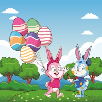 Cute easter bunny happy friends egg ballons nature background trees