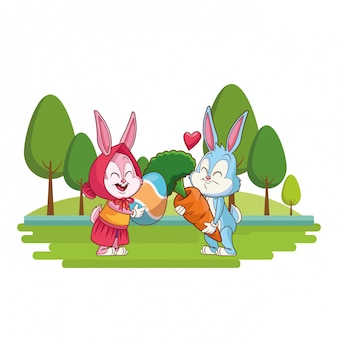 Cute easter bunny happy friends nature background trees