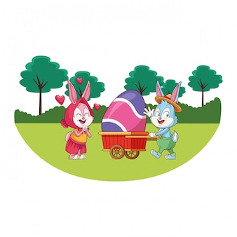 Cute easter bunny happy friends nature trees background round frame