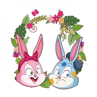 Cute easter bunny happy friends portrait floral wreath round frame