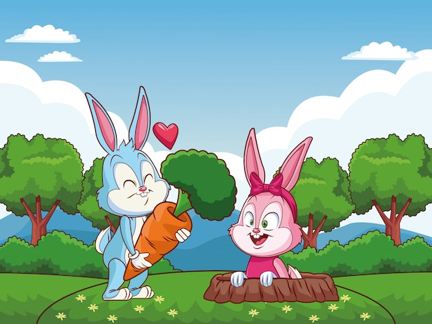 Cute easter bunny happy friends rabbit hole nature background trees