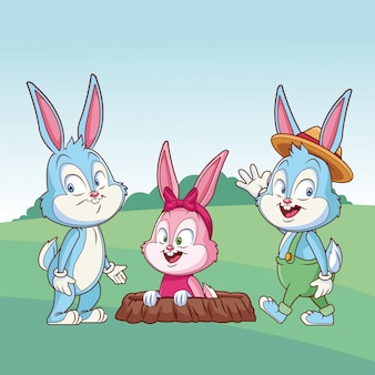Cute easter bunny happy friends rabbit hole on nature