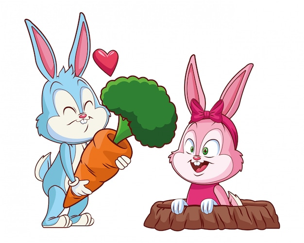 Cute easter bunny happy friends rabbit hole