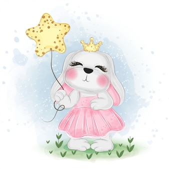 Cute easter bunny holding the star   watercolor illustration