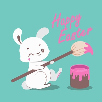 Cute easter bunny painting festive text with a giant paintbrush