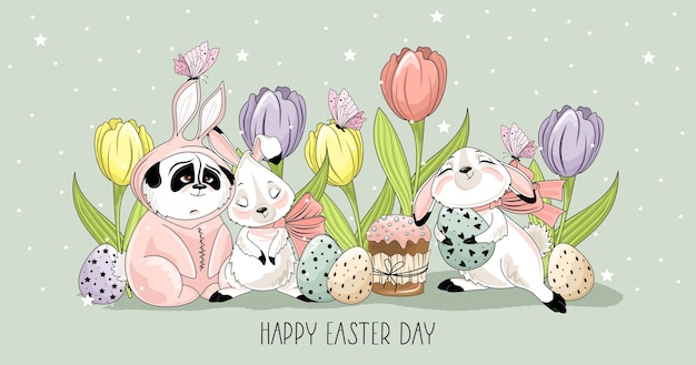 Cute easter bunny and panda with a phrase