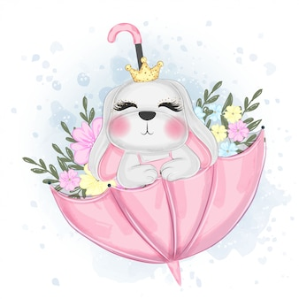 Cute easter bunny on umbrella   watercolor illustration