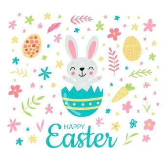 계란 인사말 카드와 함께 귀여운 부활절 토끼