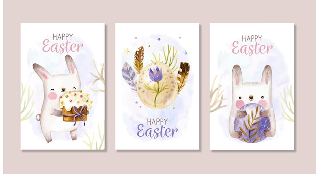 Cute easter card collection with bunnies