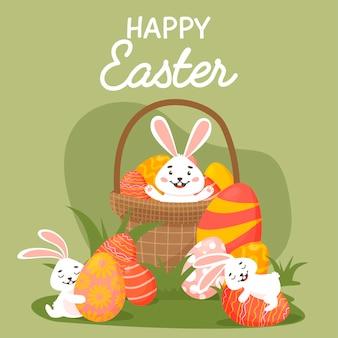 Милая пасхальная открытка. пасхальные яйца, кроличья трава и поздравления.