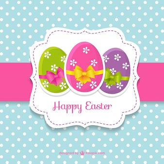 Cute easter card with easter eggs