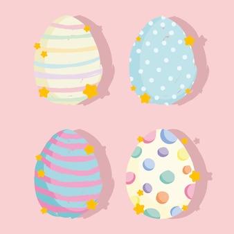 かわいいイースター漫画の装飾的な卵セット
