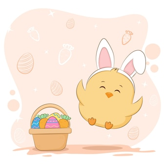 かわいいイースターのひよこと卵