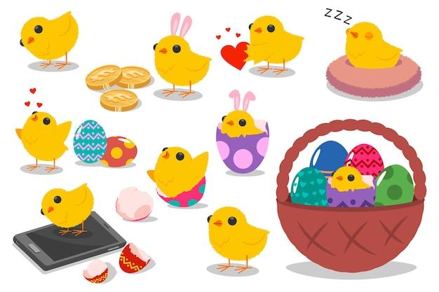 かわいいイースターのひよこのキャラクター。分離された卵、バスケット、バニーの耳を持つ面白い休日の鶏のベクトル漫画セット。