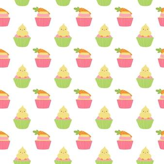 鶏肉とにんじんとのかわいいイースターカップケーキシームレスパターン