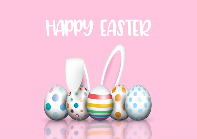 Cute easter egg greeting card with bunny ears