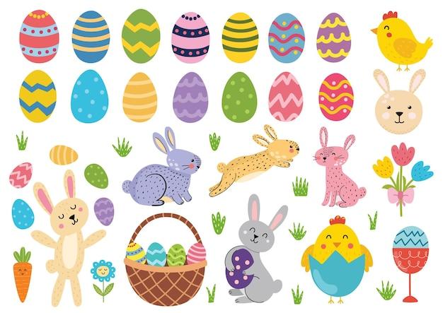 Симпатичная пасхальная коллекция элементов пасхальный кролик, цыплята, корзина для яиц и тюльпаны