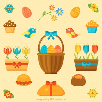 Cute easter elements and flowers