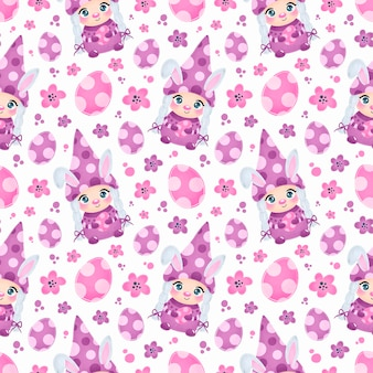 Cute easter gnome girl with bunny ears seamless pattern