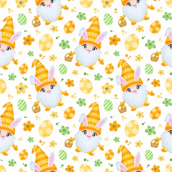 Cute easter gnomes with bunny ears seamless pattern