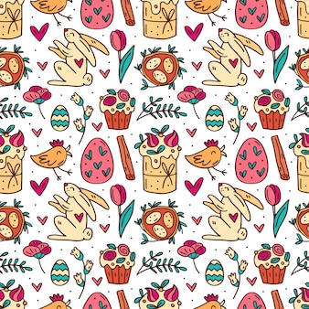 Cute easter hand drawn seamless pattern