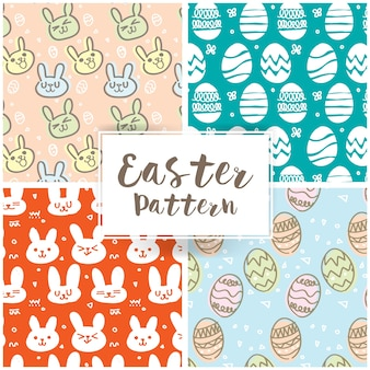 Cute easter pattern set with bunny and easter eggs