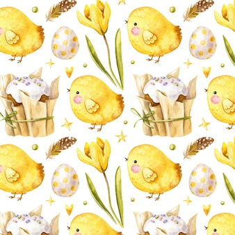 Cute easter pattern with chicken