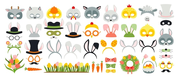 Cute easter photo booth props as set of party graphic elements