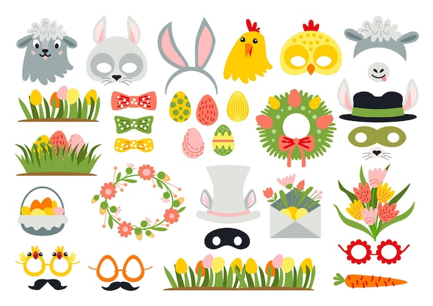 Cute easter photo booth props as a set of party graphic elements