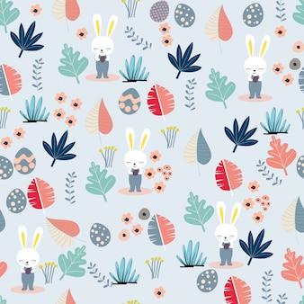 귀여운 부활절 토끼와 파스텔 떠나 완벽 한 패턴