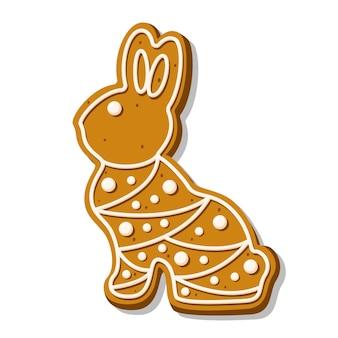 Милое печенье пасхального кролика. пряники с пастельной глазурью в горошек изолированы