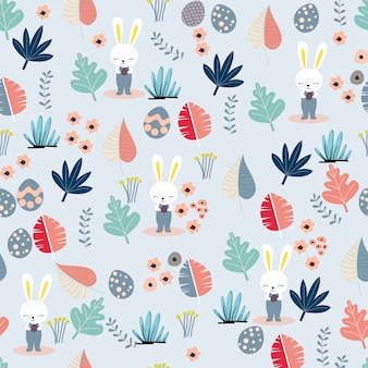 Cute easter rabbit and pastel leave seamless pattern