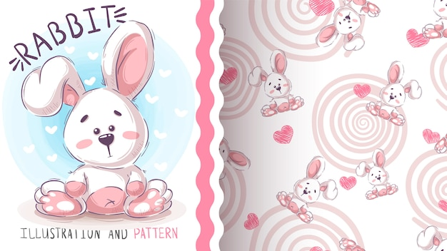 Cute easter rabbit - seamless pattern