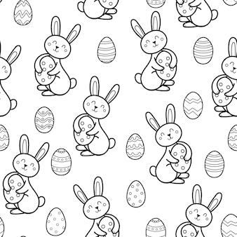 卵の黒と白のシームレスなパターンの着色ページのイラストとかわいいイースターウサギ
