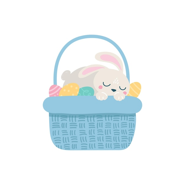 Милый пасхальный кролик с яйцом в корзине иллюстрации
