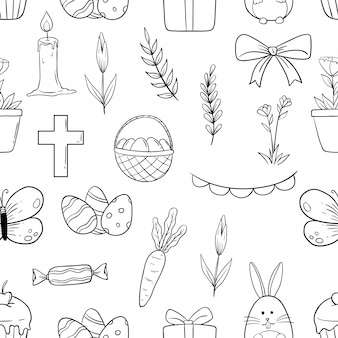 Cute easter seamless pattern icons with hand drawn or doodle style