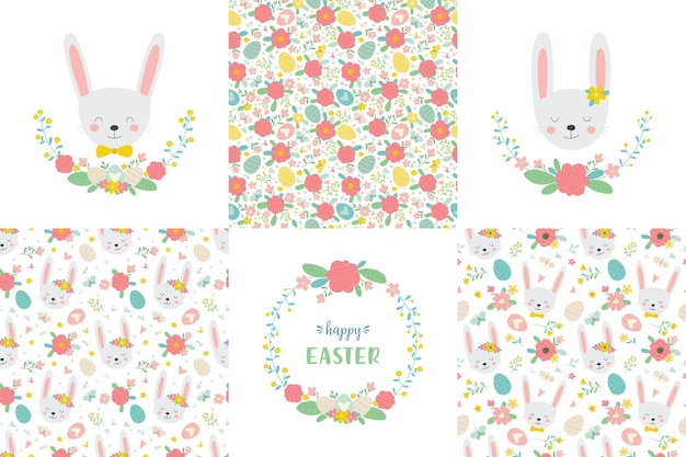 Cute easter set bunnies floral wreaths and seamless patterns in cartoon style