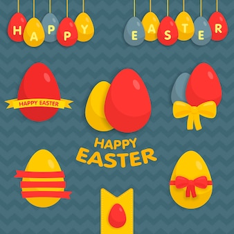 Cute easter set of labels, ribbons and other elements vector illustration. for easter cards, banners, greetings, web sites.